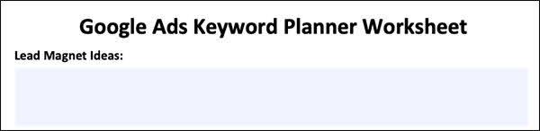 Google Ads Keyword Planner Worksheet
