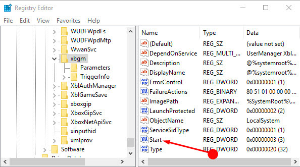 Right-click on the Start REG_DWORD key at the right-side pane of the window, and click Modify.