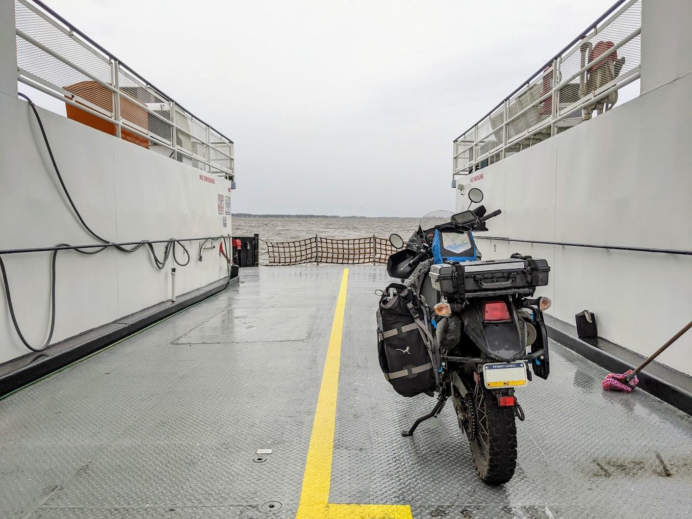 My bike on the Currituck Ferry, NC, USA
