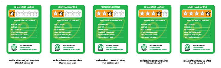 5 cấp hiệu của nhãn năng lượng