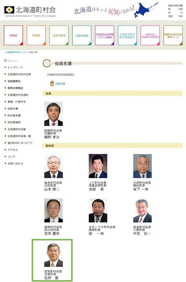 北海道町村会・役員名簿(令和2年9月29日現在)