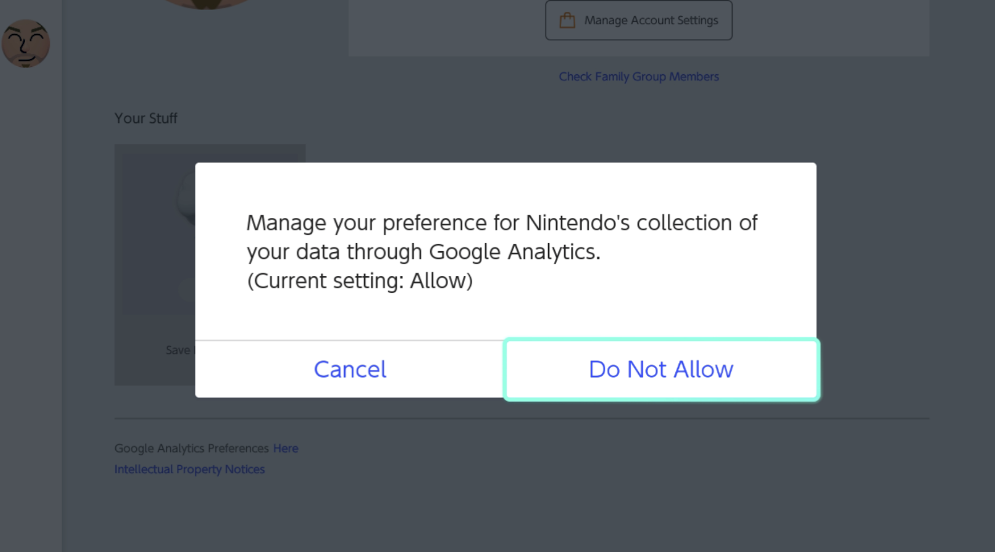 The confirmation box with the message Manage your preference for Nintendo's collection of your data through Google Analytics. will prompt. Tap on the Do Not Allow button.