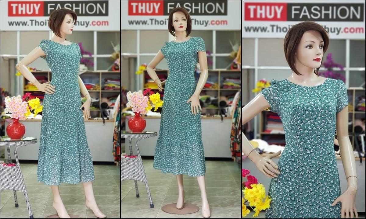 Váy đầm maxi vải chiffon hoa nhí màu xanh V710 thời trang thủy