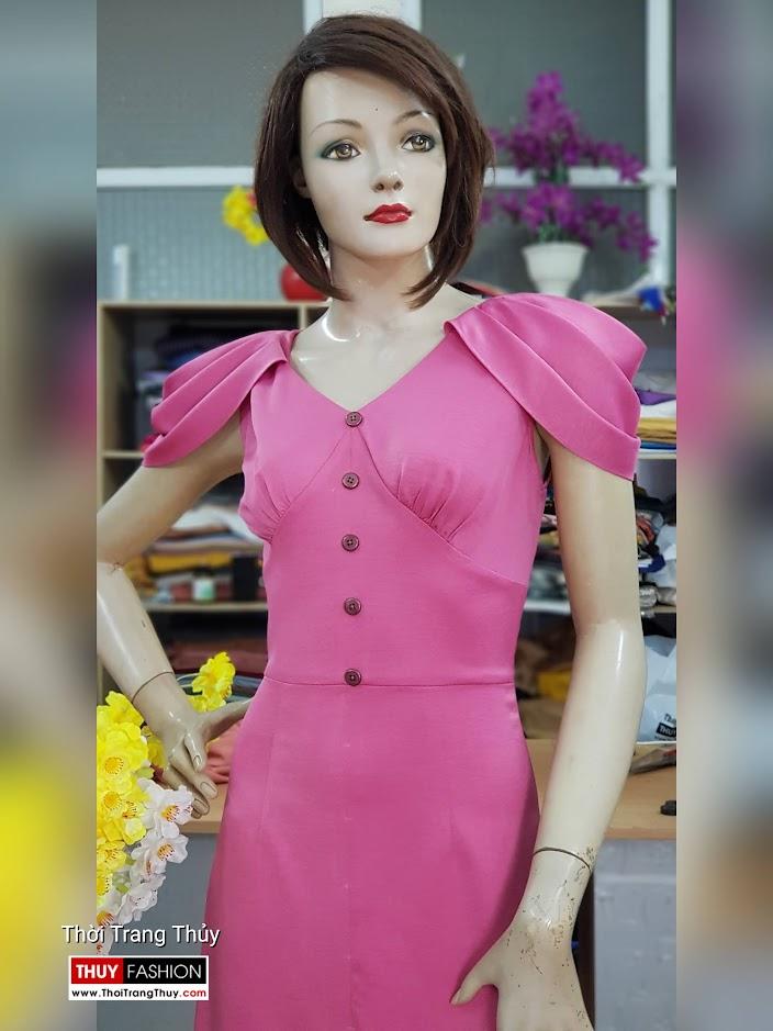 Váy dự tiệc tay bồng xếp ly màu hồng V718 thời trang thủy hà nội