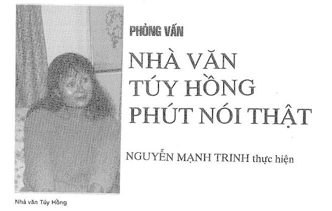 Túy Hồng ở Phút Nói Thật – phỏng vấn với Nguyễn Mạnh Trinh