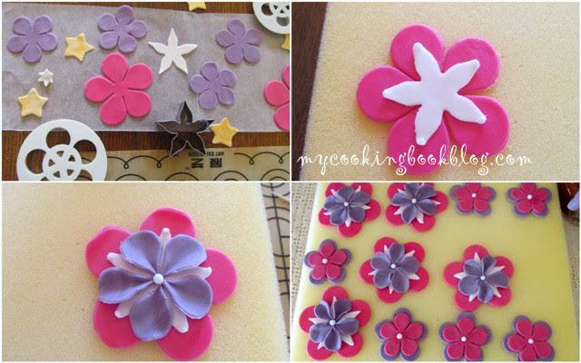 оформяне на цветята за тортата