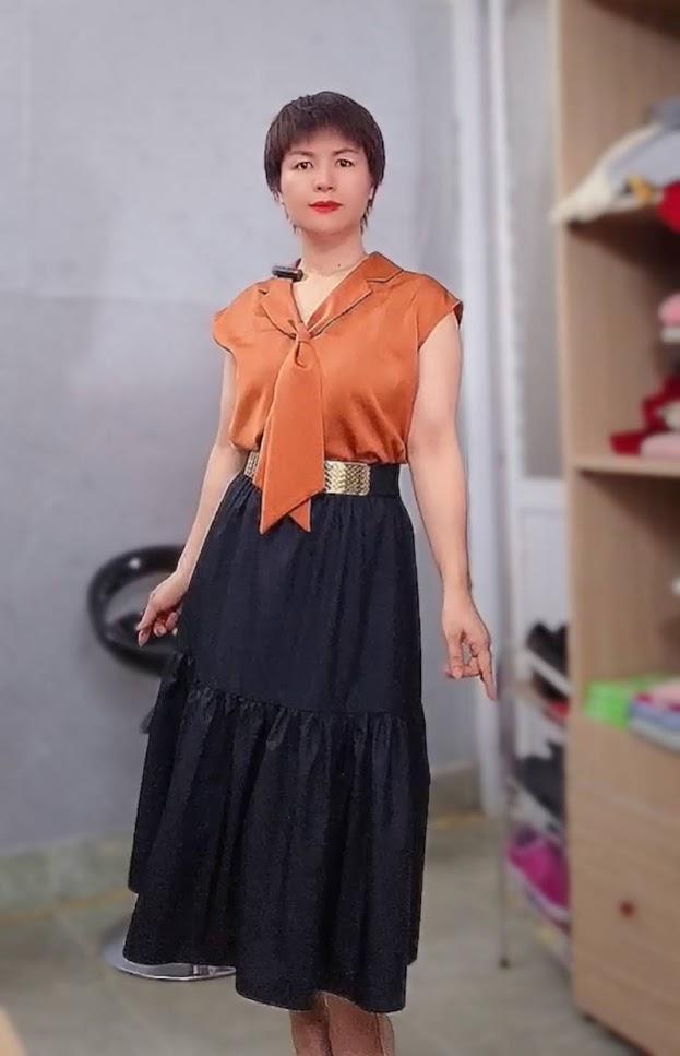 áo bám vai và phối đồ 2 kiểu váy xòe midi v763 thời trang thái bình