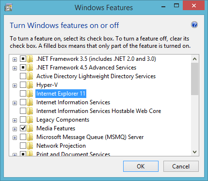 Uncheck Internet Explorer 11 in Windows Features