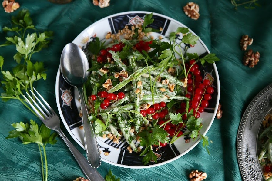Haricots Verts and Freekeh with Tahini Dressing
