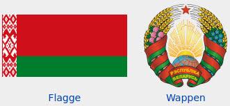 Grafik: Flagge und Wappen Belarus.