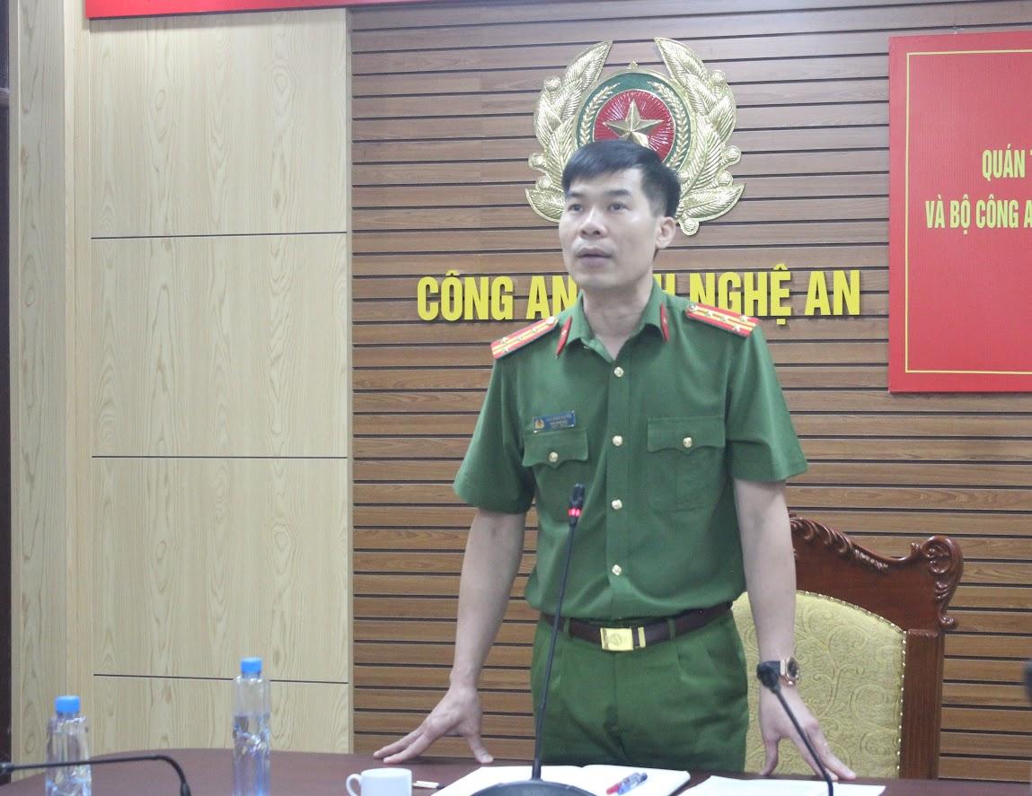 Đồng chí Đại tá Cao Minh Huyền, Phó Giám đốc Công an tỉnh chủ trì Hội nghị