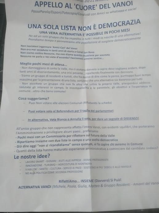 Elezioni comunali 2020 lettera Alternativa Vanoi per non voto
