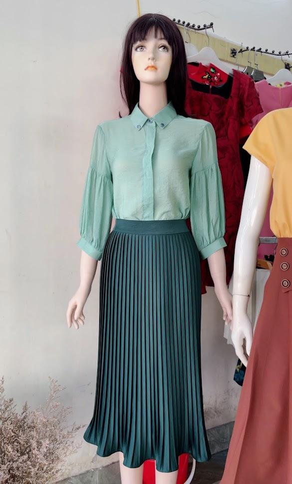 Review chất vải áo sơ mi nữ chân váy xòe công sở thời trang thủy quảng ninh