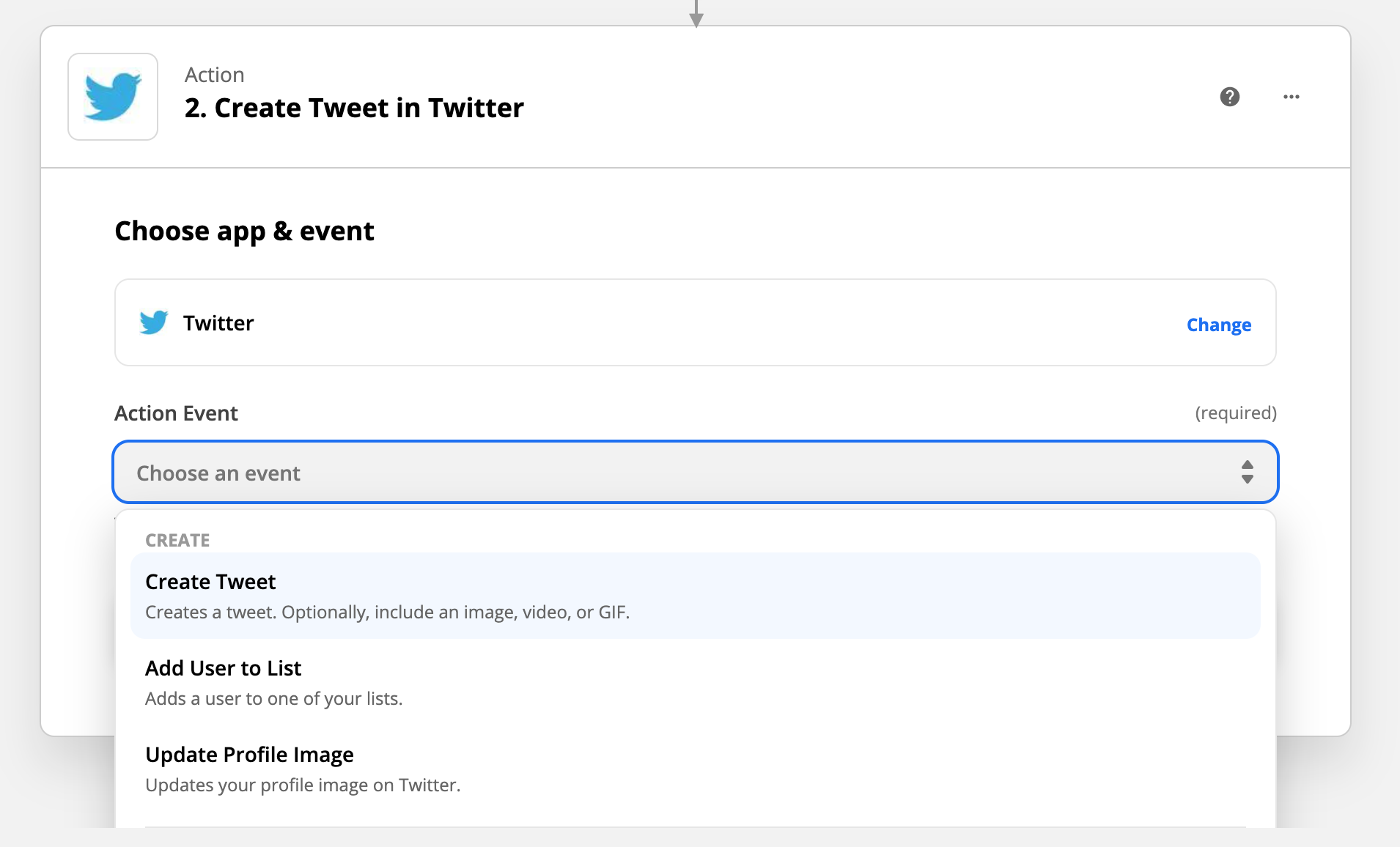 Select Create Tweet for Twitter trigger.