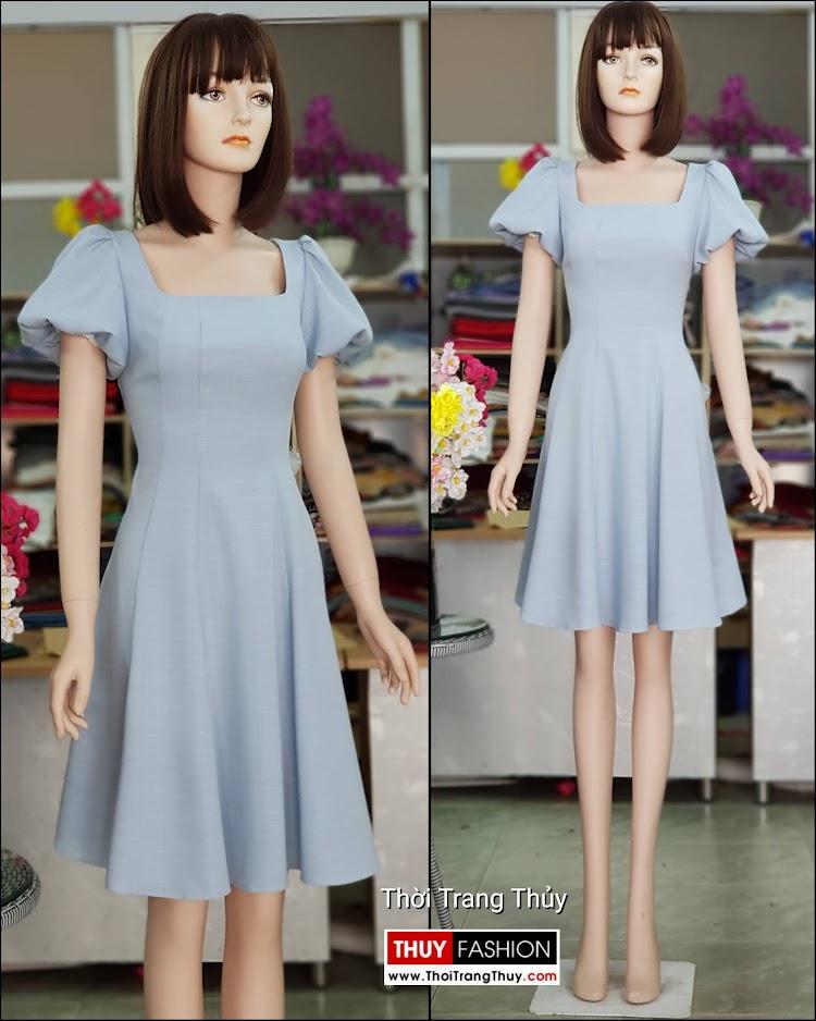 Váy xòe tay bồng cổ vuông màu xanh V719 thời trang thủy hà nội