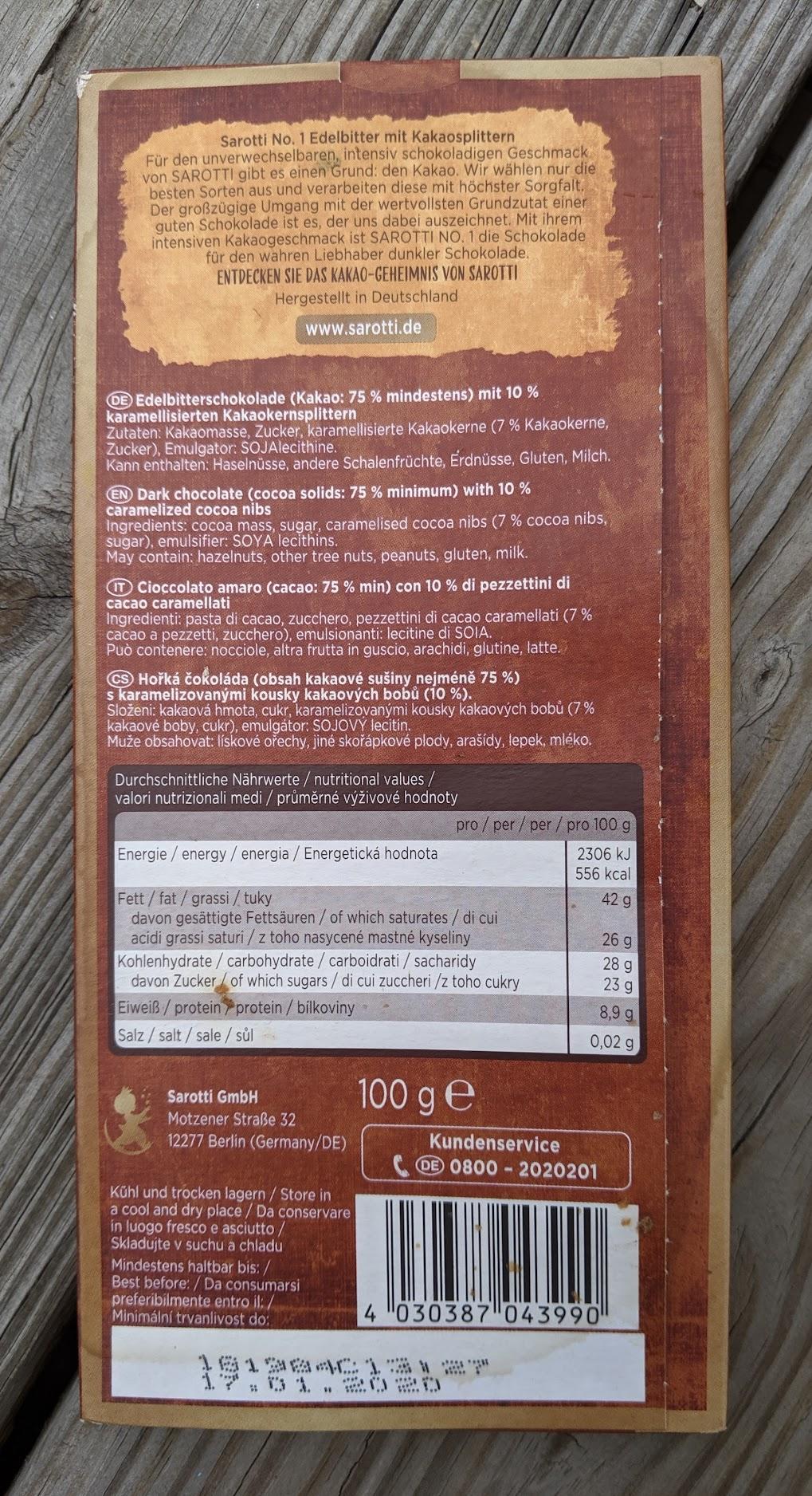 75% sarotti bar