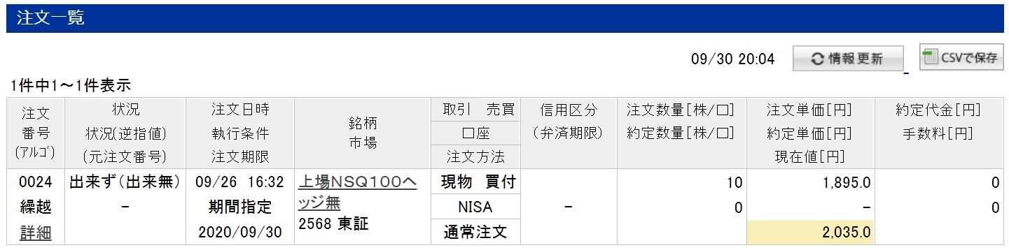 楽天証券のジュニアNISA口座での2568(QQQの国内ETF版)の注文