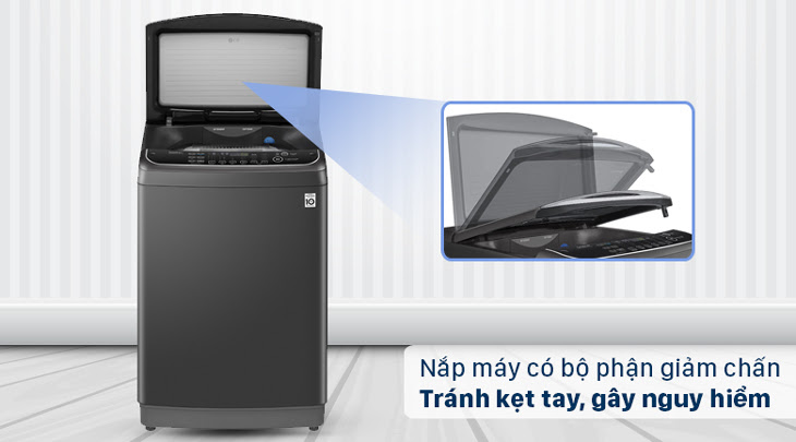 Nắp máy giặt được trang bị bộ phận giảm chấn an toàn