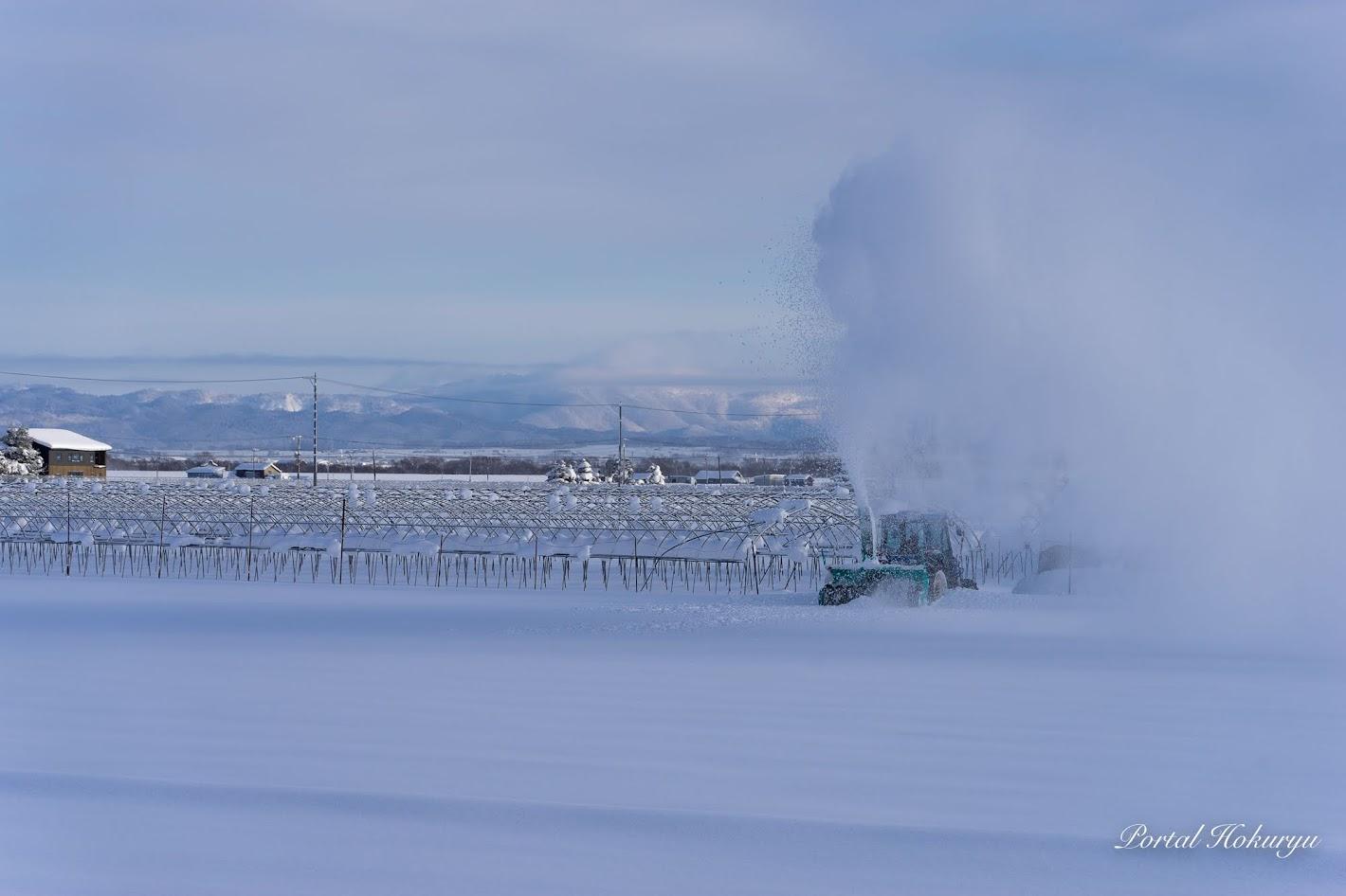 噴雪舞う風景