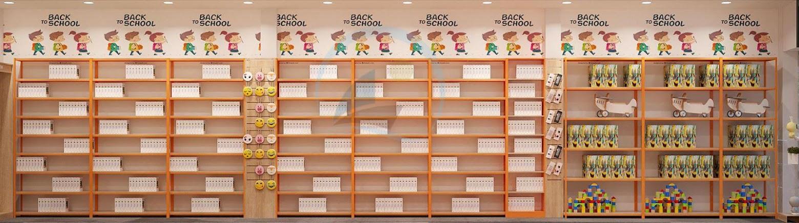 kệ trưng bày sách sát tường