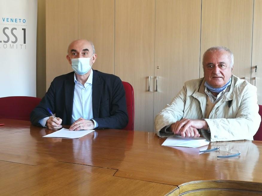 Firma convenzione ULSS Dolomiti Associazione Cucchini 20 novembre 2020