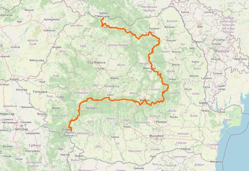 Fig. 1 Parcursul traseului turistic european E8 in Romania