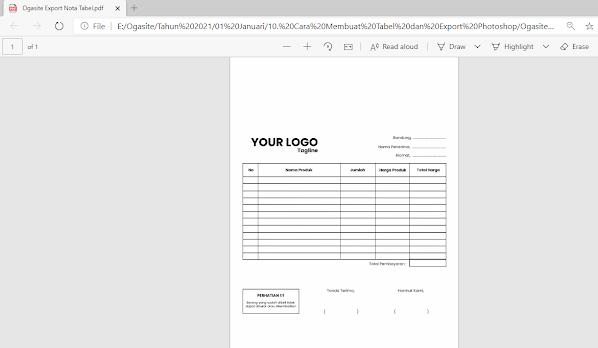Tampilan file pdf dari photoshop