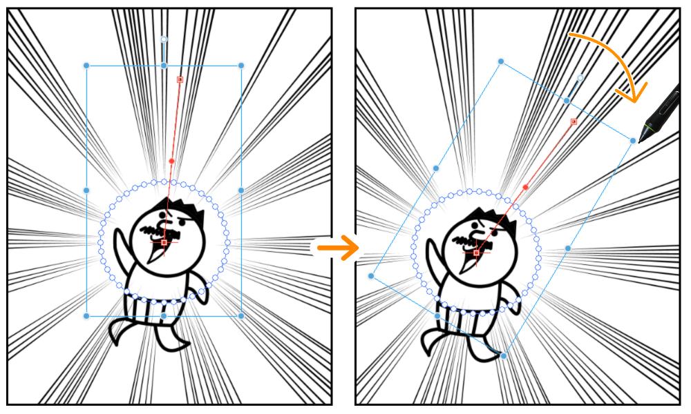 クリスタ:集中線レイヤー(オブジェクトツール)