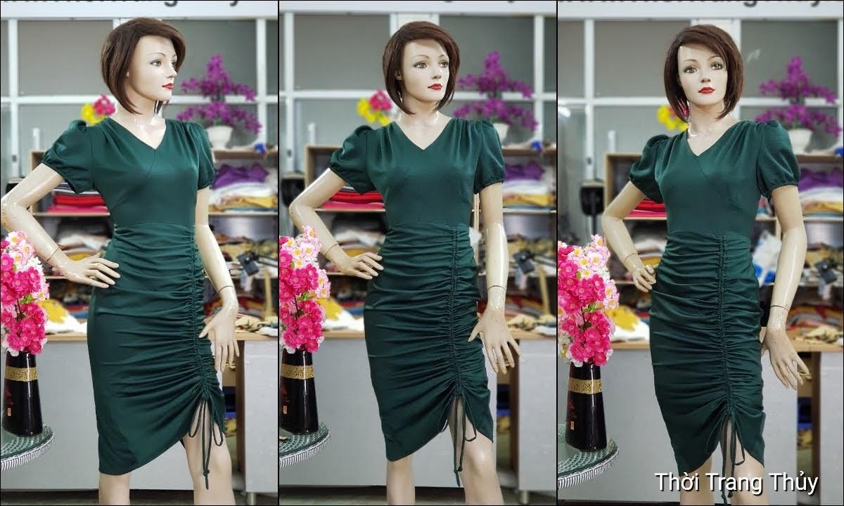 Váy dự tiệc dáng ôm body xếp nhún V721 thời trang thủy