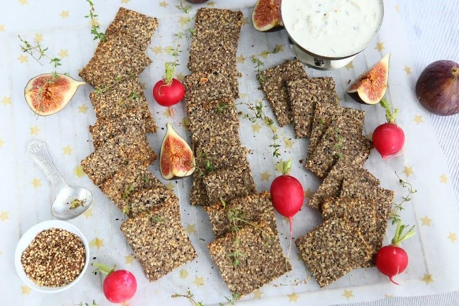 Za'atar Hazelnut Chia Crackers (GF, Sugar Free, Keto)