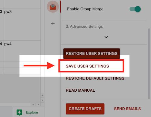 「ユーザ設定として保存」ボタン