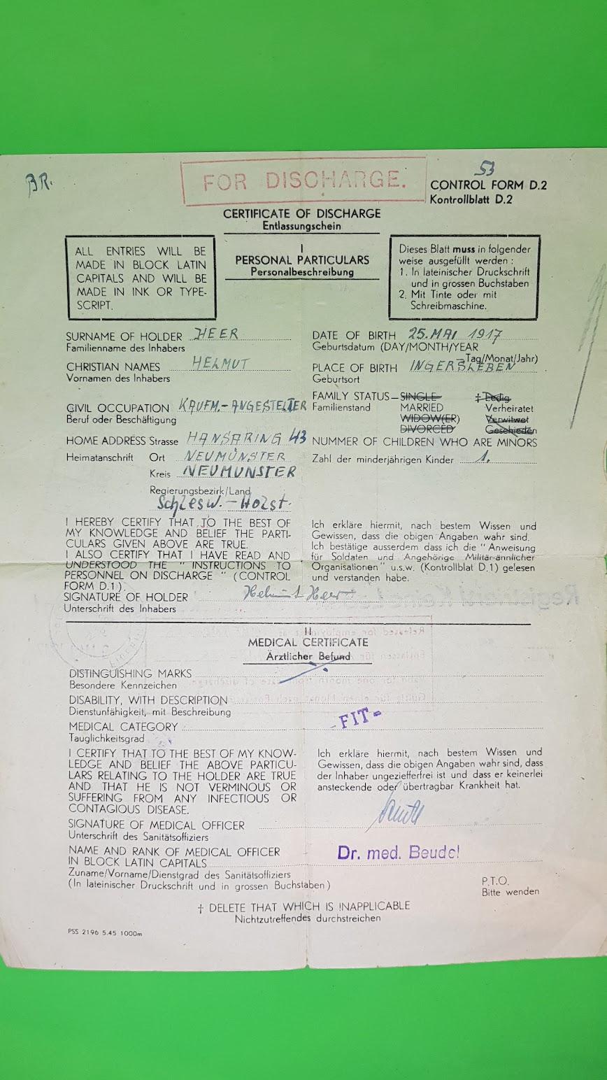 Entlassungsschein aus der Kriegsgefangenschaft 1947