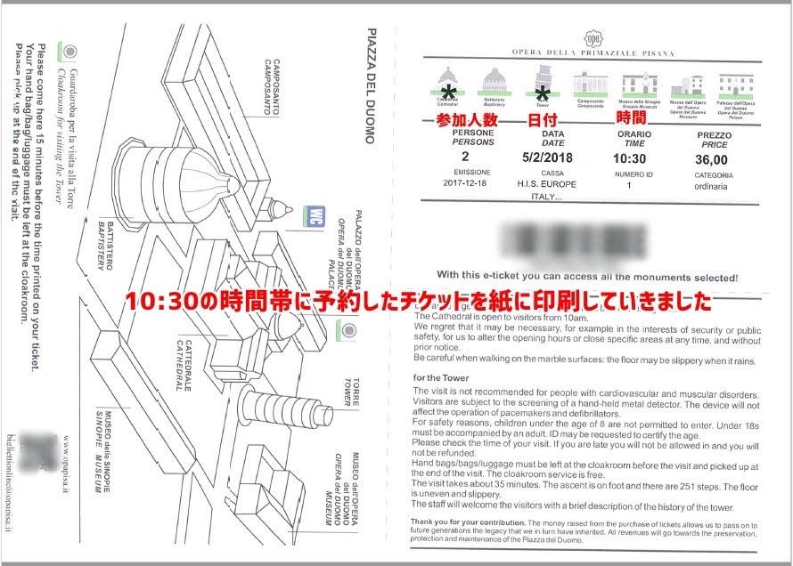 ピサの斜塔のEチケット