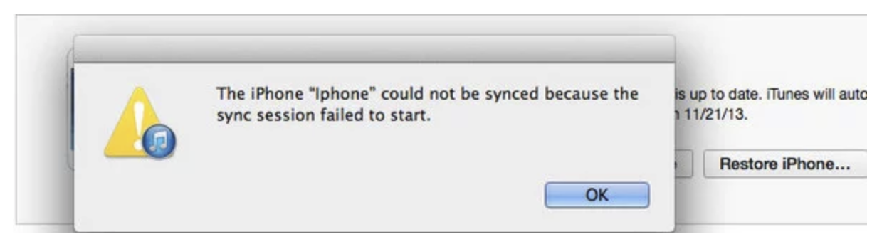 """Solutions to fix """"sync session failed to start"""" iPhone/iPad to iTunes"""