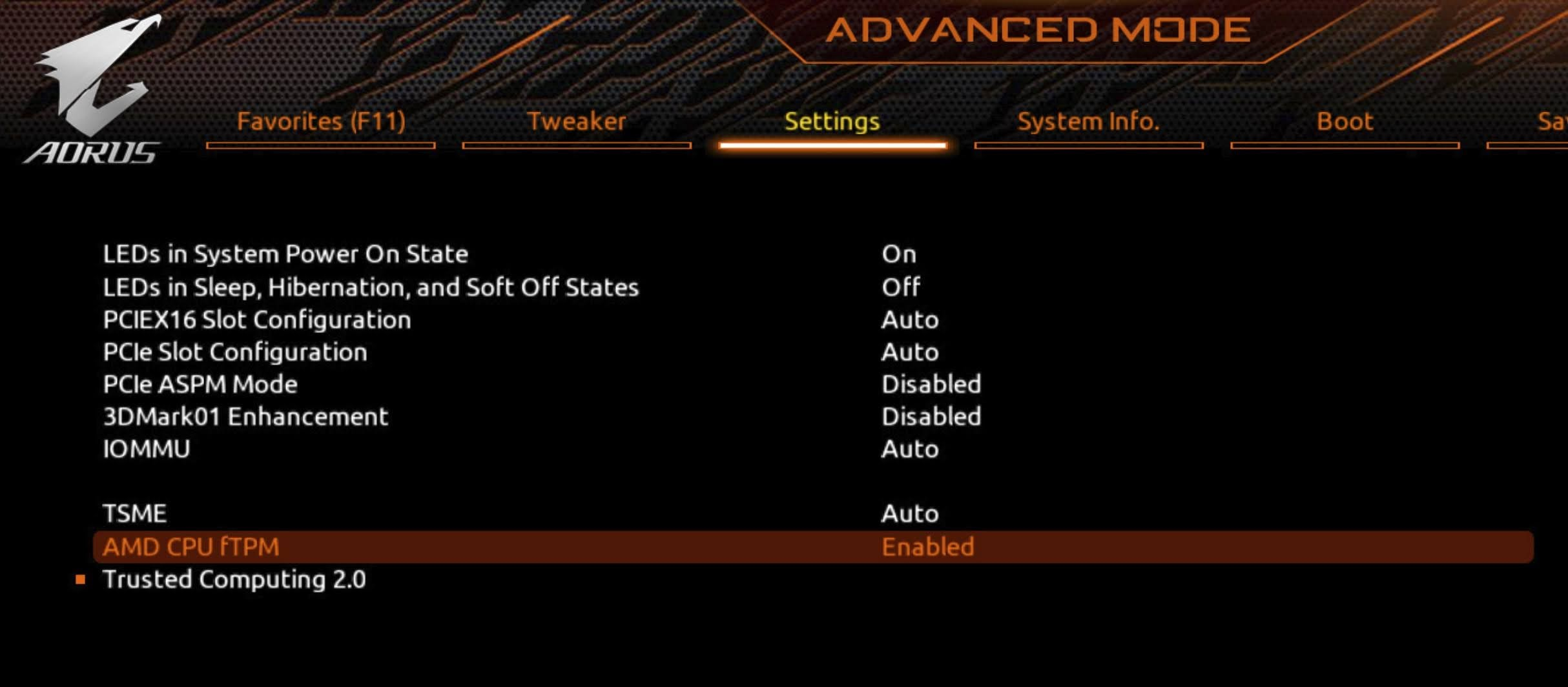Enable TPM 2.0 for GIGABYTE motherboard using AORUS: For AMD processor, locate AMD CPU fTPM option and select Enable from the drop-down menu.