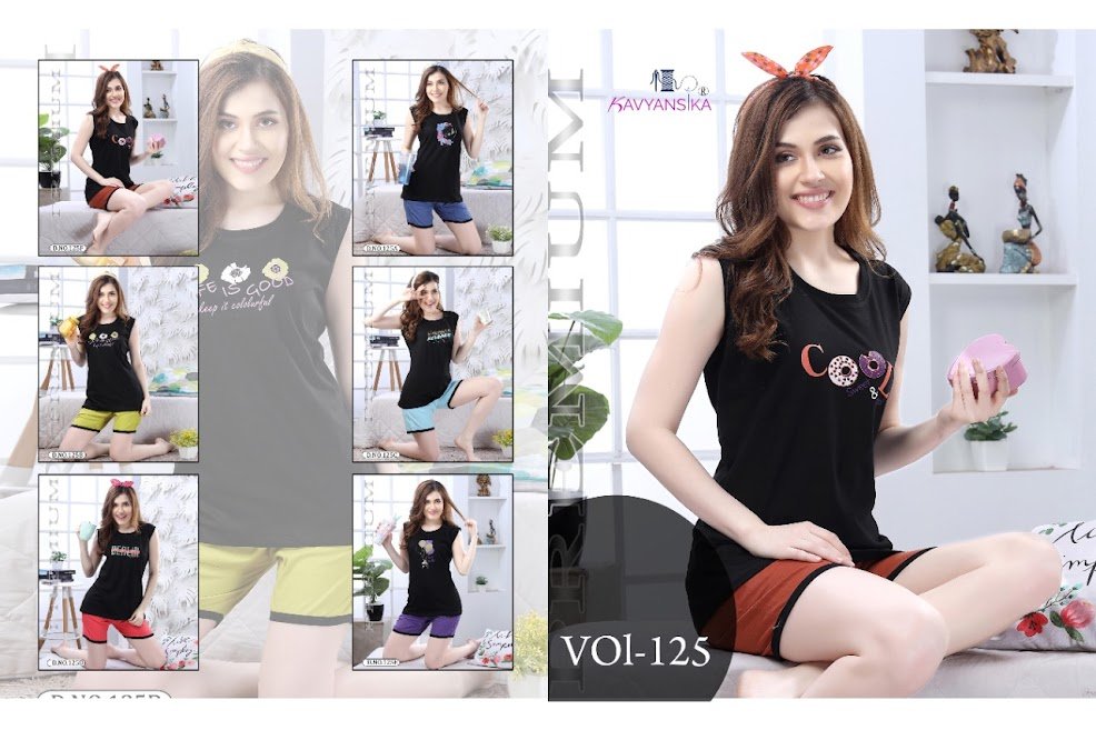 Black Special Vol 125 Kavyansika Shorts Night Suits Manufacturer Wholesaler