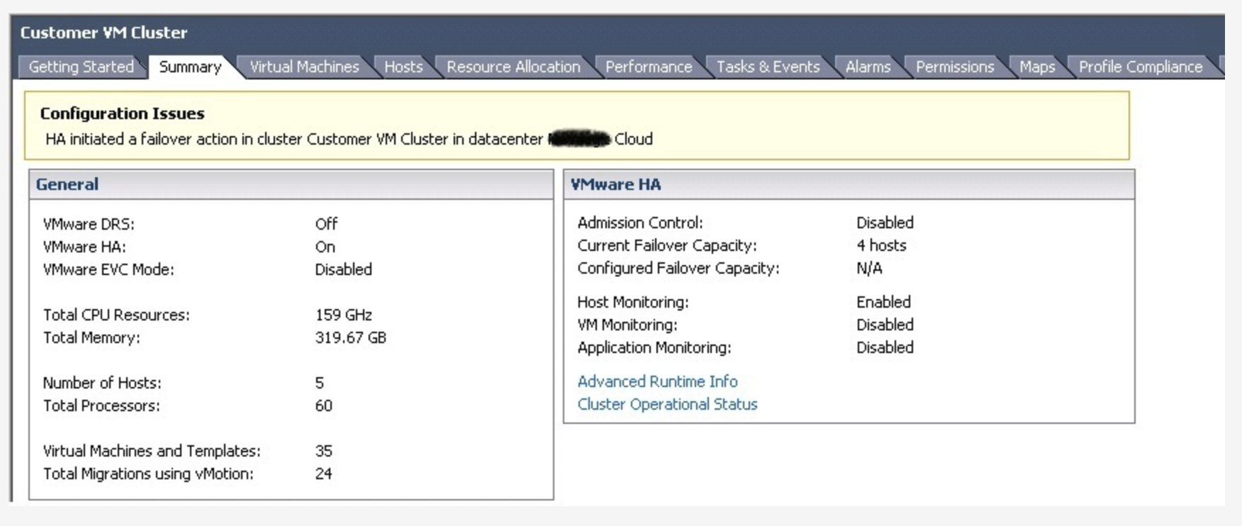 Configuration Issues: HA initiated a failover action in cluster %Cluster_Name% in datacenter %Datacenter_Name%