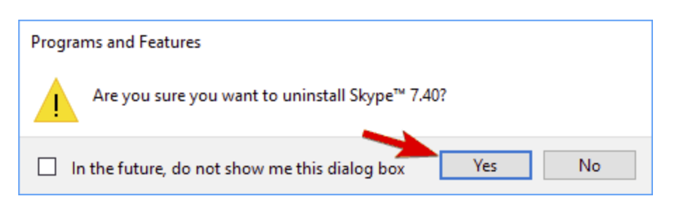 Use the Programs and Features to uninstall Skype