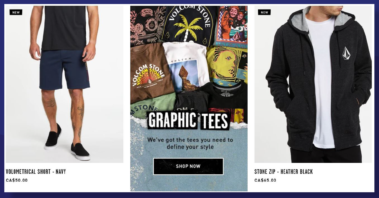 Merchandise category and product listing pages