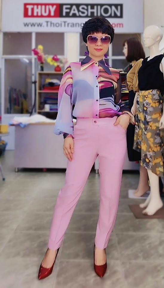 Áo sơ mi nữ mix đồ với quần baggy màu hồng V732 thời trang thủy đà nẵng