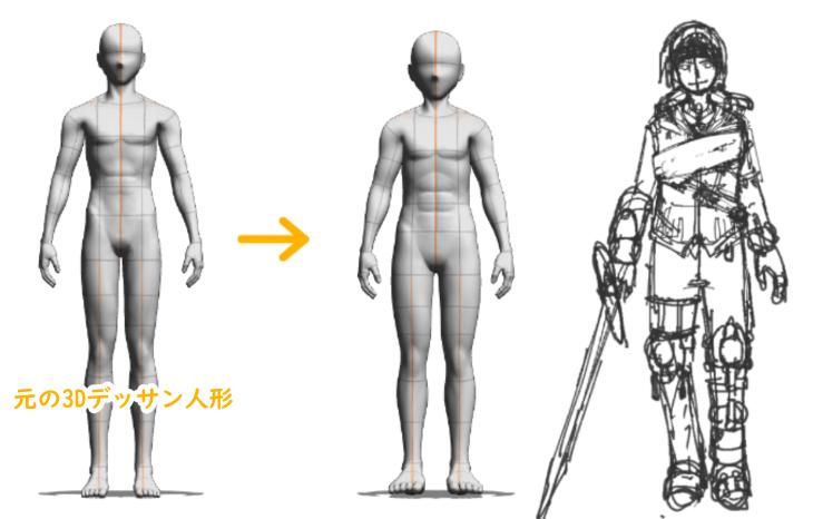 クリスタ3Dデッサン人形をキャラクターに合わせてカスタマイズ