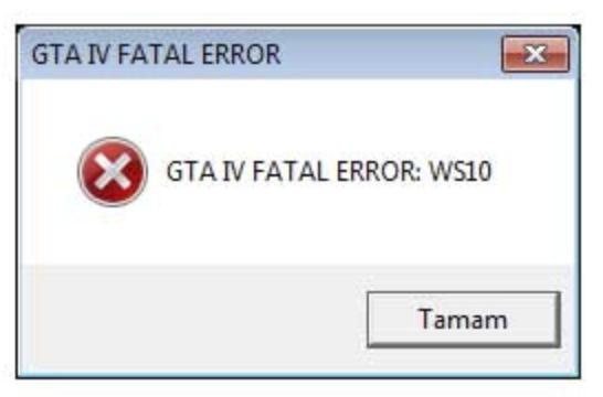 GTA IV FATAL ERROR: WS10