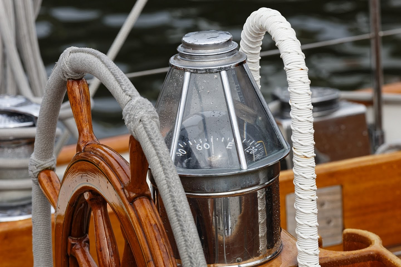 Helm of SY Bear, Annapolis harbor, MD, USA