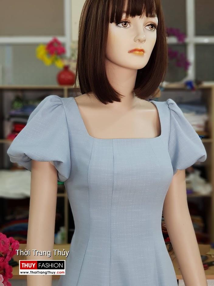 Váy xòe tay bồng cổ vuông màu xanh V719 thời trang thủy quảng ninh