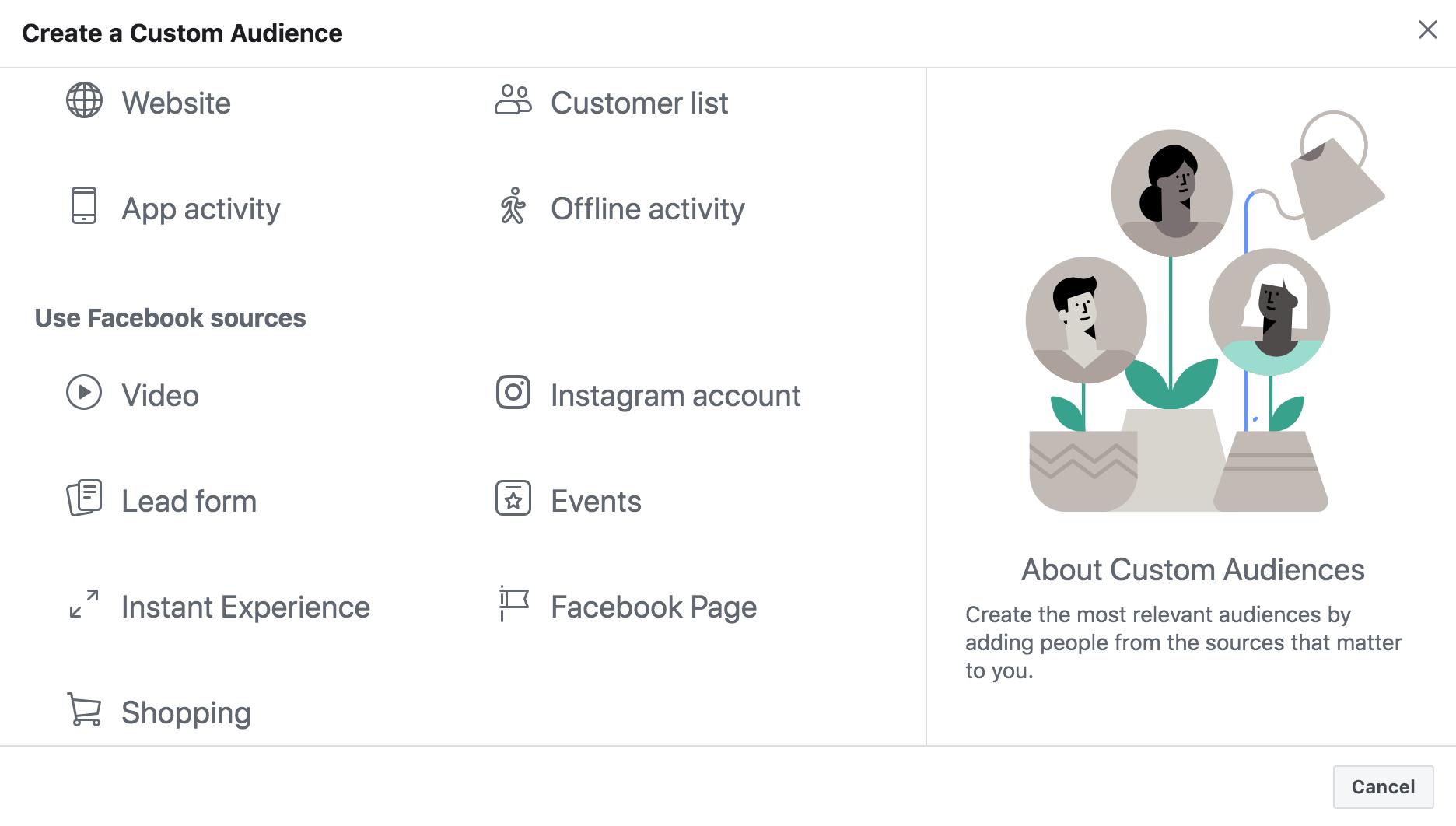 Facebook Custom Audience added Shopping option