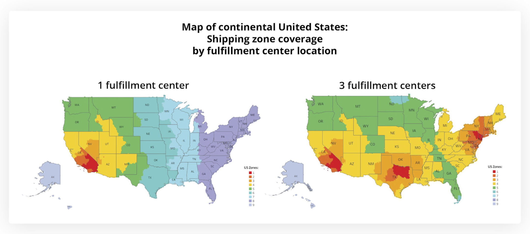 Map of continental United States: Shipping zone coverage by fulfilment center location