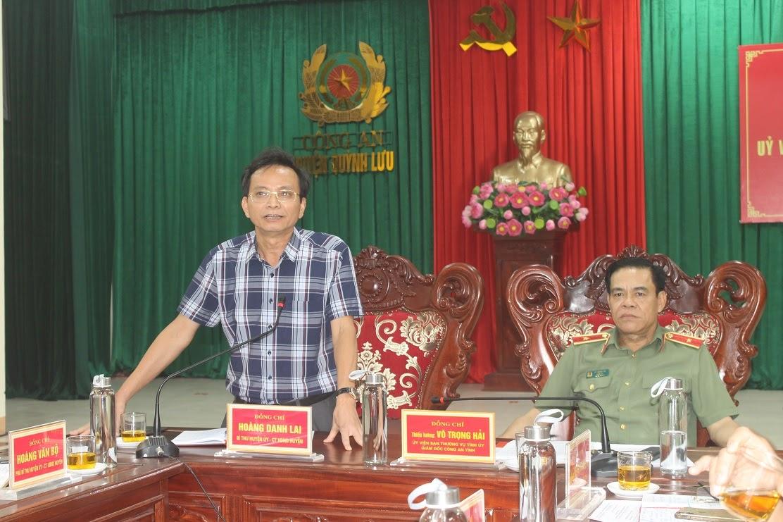 Đồng chí Hoàng Danh Lai, Bí thư Huyện ủy đánh giá cao kết quả Công an huyện đạt được trong thời gian qua