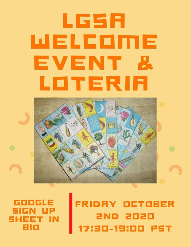 Latinx Graduate Student Association Welcome Event & Loteria, Friday, October 2, 5:30-7:00pm