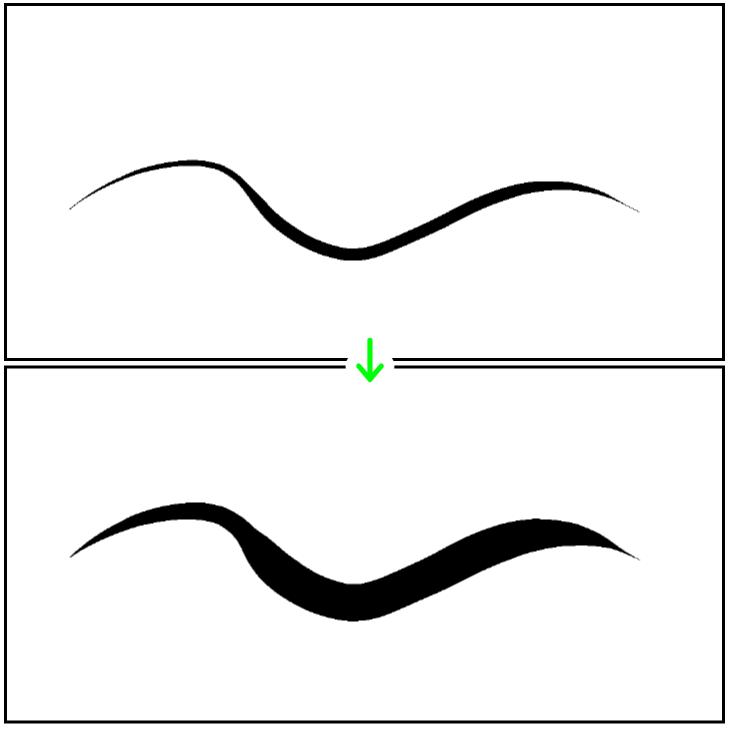 クリスタのベクター線をオブジェクトツールでブラシサイズ変更