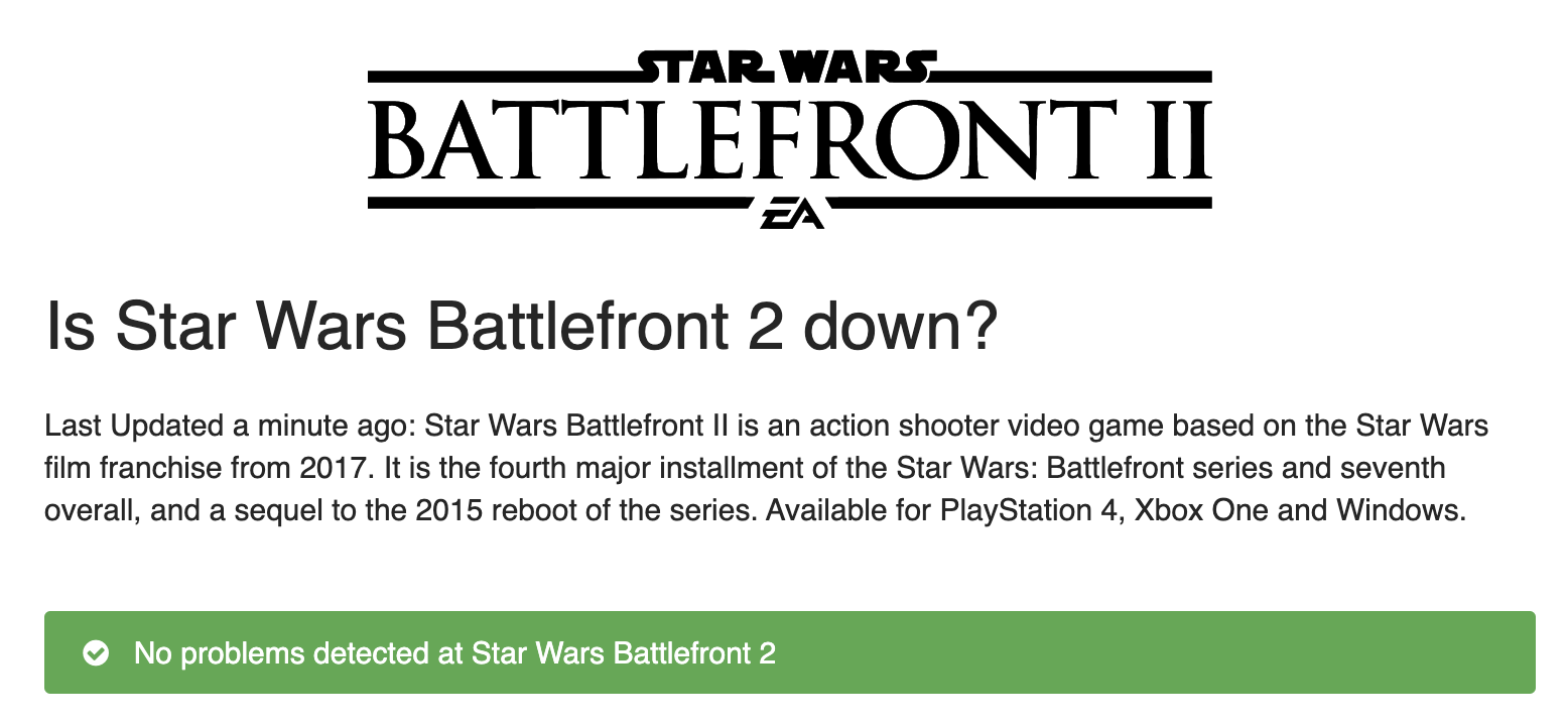 Is The Service Down / Star Wars Battlefront 2